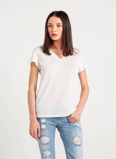 Rue 12280212 V Yaka Rahat Form T-Shirt Ekru